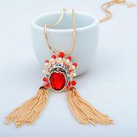 joyas de cristal colgante collar chino ópera de Pekín maquillaje facial collar colgante de collar de la mujer suéter