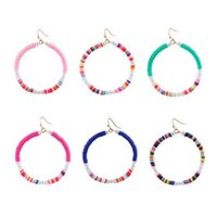 Messing Draad Draad Soft Clay Beads Large Ciircle Drop Earrings voor Dames Boutique Boho Zomer Beaded Confetti Hoop Oorbellen