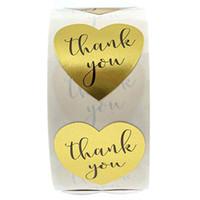 500pcs a forma di cuore da 1 pollice Grazie etichetta adesiva in oro busta sigillata adesivo etichetta fai da te etichetta fatta a mano