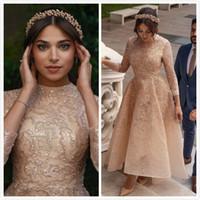 2020 Arabisch ASO EBI Gold Muslimische Spitze Brautkleider Perlen A-Line Brautkleider Vintage Sexy Brautkleider ZJ232