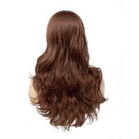 Parrucche sintetiche dei capelli del pizzo di colore marrone medio Parrucca artificiale a macchina ondulata lunga resistente dell'onda della parrucca naturale Parte centrale