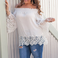 New Summer Loose Women Plus Size Blouse Solid Hollow Out Emb...
