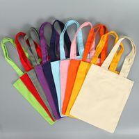 Lona de algodón durable colorido reutilizable en blanco tamaño estándar comestibles llano bolsas con tela de apoyo puede personalizado XD23409
