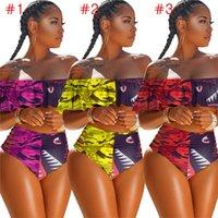 Donna 2 pezzi Costumi da bagno Designer Bikini Swimsuit balza Bra + Hipster Shorts lusso Camo Squalo nuoto costume da bagno D6204