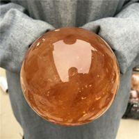 Duży rozmiar 100mm Naturalne żółte kamienie kalcytowe Kula Islandia Spar Kula Kula Kwarcowy Kryształ Energia Rockowa Próbka Mineralna
