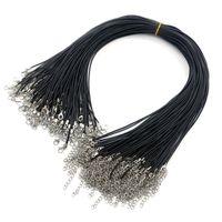 Черные цепные ожерелья 1,5 мм кожаный шнур восковой веревочный провод для подвеска DIY подарочные украшения, делающие аксессуары воротники с застежкой омара 45см + 5см