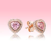 Orecchini rosa scintillante per carrucini di lusso Designer di lusso Placcato oro rosa per Pandora 925 argento Amore cuori orecchini con scatola originale