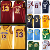 James 13 Harden Ncaa College Jersey Mens Allen 3 Iverson 0 Westbrook Plackball Jerseys Logos da ricamo Spedizione gratuita