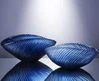 블루 현대적인 미니멀 한 손으로 날려 유리 과일 트레이, 간단한 스타일 홈 부드러운 장식 장식을 새겨