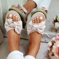 Arco Mujer Zapatillas Diapositivas Verano Verano Sandalias Zapatilla Interior Lino al aire libre Chanclas Playa Mujer Zapatos florales