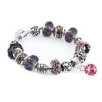 Encantos de la manera DIY cristal perlas pulseras niñas Crystal Rose Colgante de piedras preciosas mujer brazalete de la joyería del partido TTA1166-14 regalo