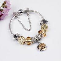 Wholesale-verre charme bracelets perles de noël jaune fleur CZ Crystal Charms Dangle for Femme Original Diy Bijoux Style Fit Pandora