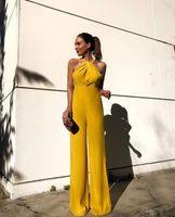 Elegante gelbe Strampler Party Tragen Abendkleider Hose Anzüge Billig Chiffon Prom Party Kleider Jumpsuit Celebrity Kleider LFF2172
