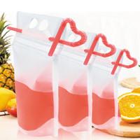 Duidelijke drank zakjes tassen drinkware rits stand-up plastic drinktas met rietouder hersable hittebestendige sap koffievloeistof