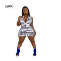 Tipsuit da donna Rompere Suwa 2021 Raccomandare Style Casual Striscia Verticale Sole senza maniche Skinng Skinng Femme Short Tuta Streetwear Signora