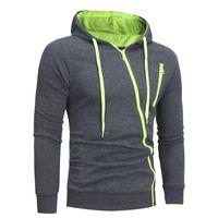 Diagonal Zipper Männer beiläufige dünne Strickjacke mit Kapuze Revers Pullover Solid Color Design-langärmelige Männer Top-Hemd