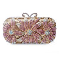 Luxury Gold Metal White Crystal Clutch Party Purse White Rhi...