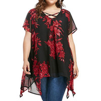 Plus Size 5xl Womens Tops And Blouses Chiffon Tunic Cross Fl...