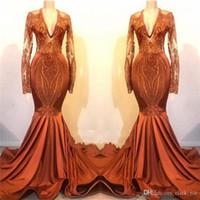 2K19 Mermaid Gelinlik Derin V Boyun Dantel Aplikler Uzun Kollu Mermaid Abiye giyim Saten Boru Sweep Tren Ucuz Örgün Parti Elbise