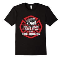T-shirt da uomo 2021 Summer Men Ttee shirt con cui è ancora giocato con camion dei vigili del fuoco TEE