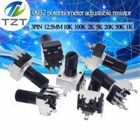 10 unids RV09 Vertical 12.5mm Eje 1K 2K 5K 10K 20K 50K 100K 0932 Potenciómetro de sello de 3pin de resistencia 9