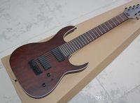 Fabrik benutzerdefinierte Freix 8-String-transparente rot-braune E-Gitarre, 24 Tonsäulen und Griffbrett blau Hibiskus, schwarze Hardware, benutzerdefinierte