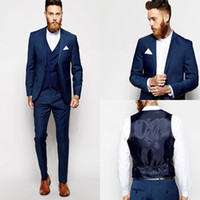Dark Blue Groom Tuxedos Groomsmen Vent Slim Suits Fit Best M...