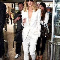 Fashion White Pants suit Donna Ladies Formal Business Office 2 pezzi Giacca + Pantaloni Abiti Custom Made