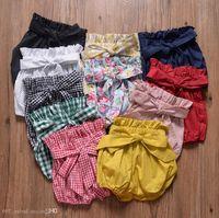 الطفل بنات القوس عقدة فانوس سروال الصيف للأطفال مصمم ملابس ساخنة بيع الفتيات الصغيرات لون الصلبة سروال قصير سروال 11 الألوان