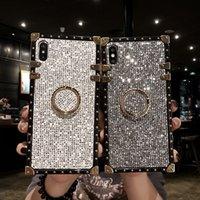 Роскошные блестящие блестящие чехлы для телефонов Samsung Note10 9 S10 Bling блестки чехол для Iphone 11 7 8 Plus X XS XS Max кольцо кронштейн черная крышка