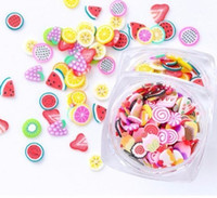 Full Beauty Fruit Candy 3D Polymeer Clay Nail Art Decorations Tiny Fimo Canses Kiwi Orange Slider Creative Designs 80pcs / Box CH082