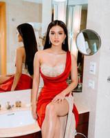 Sexy Red frisada Sereia Prom Dresses 2020 High Side Dividir um ombro Satin longas EveningGowns formais Luxo Festa Vestidos