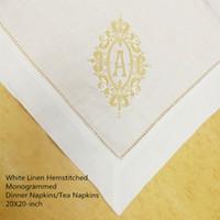 Набор из 12 Fshion монограмма Ужина Салфетка белых льняных ажурной Таблицы Салфетка 20х20 дюймов Чайных салфеток