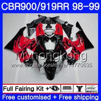 Bodys For HONDA CBR 919RR CBR 900RR CBR919RR 1998 1999 278HM.41 CBR900RR CBR 919 RR CBR900 RR CBR919 RR 98 99 Fairing New red black top kit