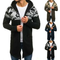 Les hommes Camouflage capuche trench hommes Cardigan manches longues Outwear Chemisier masculino homme veste
