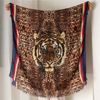 Printing Tiger Head Leopard Print Scarf Ma'am Keep Warm Weather Quality All-match Long Fund Shawl Stripe EdgeNew Hot Fashion