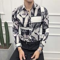 Mode 2018 Herbst New Tuxedo Long Sleeve Slim Fit Digital Print-Shirt Men Casual Einreiher Geschäfts Prom Shirt Man 3XL-M