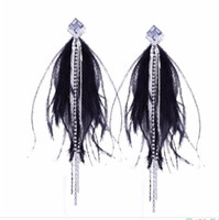 Individual character exceeds immortal vogue tassel to set diamond earring to act the role ofing role of feather temperament long sexy meltin