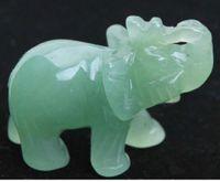 Yeni ++ + Çinli Yeşil yeşim Oyma Fil Küçük heykel