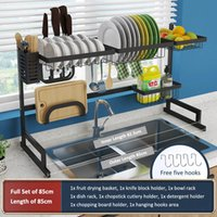 Kitchen Shelf Organizer Dish Drying Rack Over Sink Utensils ...