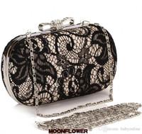 Черные кружевные блестки сцепления вечерние сумки сумки высококачественные женские кошельки для партии свадебная рука
