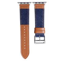 Für Apple Watch Serie 4 44 mm Band Designer iwatch bands 38 40 42 mm Ersatzarmband Denim Canvas Lederband Wrist Bands