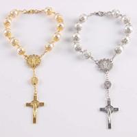 Крест розарий браслет религиозные ювелирные изделия женщины мужчины мода серебряные золотые бусины стеклянные жемчужины Иисус христианские браслеты шармы с застежкой омара