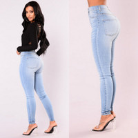 Mais recente Pants Mulheres Lady Arrivals Moda Hot Denim Skinny cintura alta jeans stretch Magro Pencil Jeans Mulheres Casual
