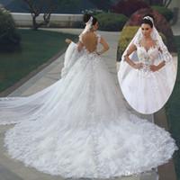 Роскошный Дубай Арбрик Принцесса Бальное платье Свадебные платья 2020 Vestido de Noiva de Renda 3D Цветочные Кружева Аппликация Royal Train Свадебные платья