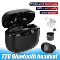 T20 TWS Bluetooth cuffie 5,0 Auricolari In-Ear wireless con microfono HD chiamata Noise Reduction Sport auricolari per il telefono Android in scatola al minuto