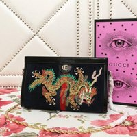f4c1578670ca Wholesale dragon lock online - New Ophidia Series Small Dragon Embroidered  Chain Shoulder Bag Black REAL