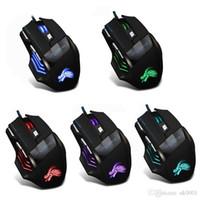 Великобритания UK Professional 7 Кнопки Регулируемое USB кабель LED Optical Gamer Mouse 5500DPI Проводная игровая мышь для компьютера ноутбука Мыши PC Black