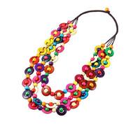 Bohême déclaration ethnique Long collier 2018 mode boho bijoux 3 styles perles de coquille de noix de coco à la main collier tour de cou pour les femmes