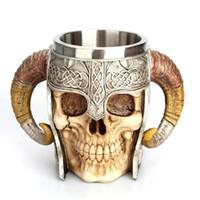 Paslanmaz Çelik Kafatası Kupa Viking Ram Boynuzlu Pit Efendisi Savaşçı Bira Stein Tankard Kahve Kupa Çay Bardağı Cadılar Bayramı Bar Drinkware Hediye